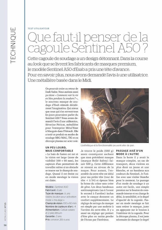 Article métalflash P1 Juillet2017 ArticleSentinelA50 MétalRine