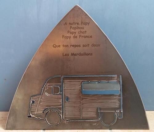 Plaque Funéraire Hommage Citroën Tube découpe plasma, gravage au laser, MetalRine