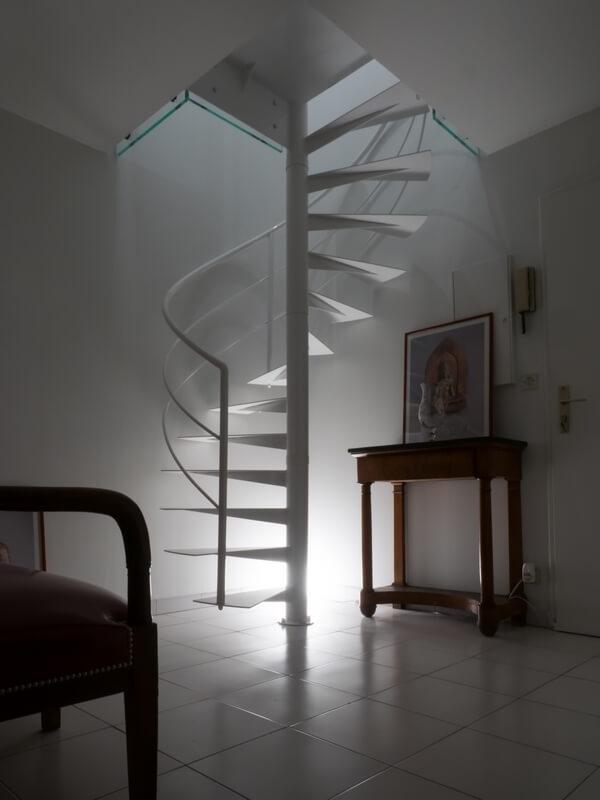 Escalier Hélicoïdal vue d'ensemble réaliser sur mesure